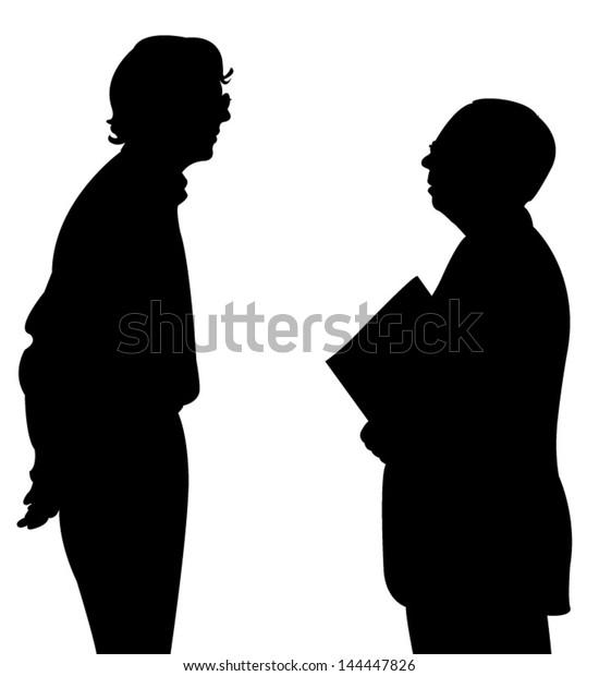 talking people silhouette vector