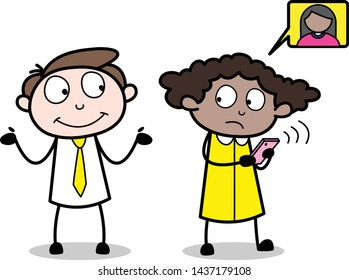 Talking with a Person While Calling - Office Businessman Employee Cartoon Vector Illustration