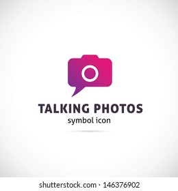 Talking photos symbol icon or logo template