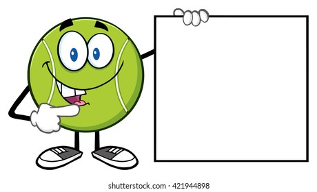 Talking Tennis Ball Cartoon Mascot Character Pointing To A Blank Sign. Vector Illustration Isolated On White