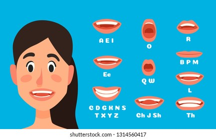 Talking woman mouth animation. Female character talking, speak mouths expressions and lip sync speaking animations. Girl mouth talk animations, speaking ladie emotion vector illustration