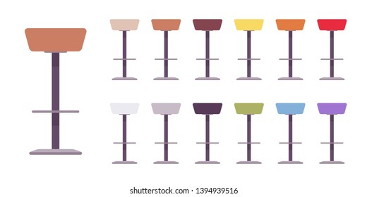Tall bar stool set. Contemporary design counter height chair for home, cafe, party and kitchen furniture. Vector flat style cartoon illustration isolated on white background, different views and color