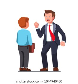 Tall boss business man bully screaming, intimidating, shaking fist on scared docile employee or coworker. Corporate supervisor reprimanding and bullying concept. Flat vector isolated illustration