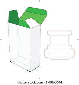 Tall Box with Flip Lock Bottom and Die-cut Pattern Layout