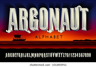 A tall carved marble effect alphabet; Argonaut is a lettering style suggestive of ancient greek mythology. 3d effect font.