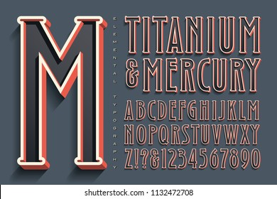 A tall condensed alphabet with outline and 3d effects and a retro-future vibe.