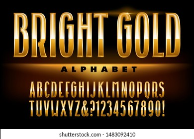 A tall condensed font in reflective metallic gold tones. This alphabet exudes luxury and elegance.