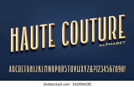 """A tall condensed font with subtle but unique styling; this alphabet and color scheme convey an elegant high fashion look. Translation: 'Haute Couture' is French for """"High Fashion."""""""