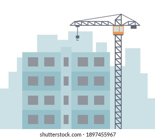 Tall construction crane and construction house. Vector illustration isolated in flat style on white background.
