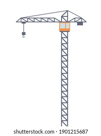 Tall construction crane. Vector illustration isolated in flat style on white background.