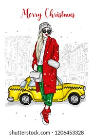 Tall girl in a stylish coat, hat and boots. Taxi and the city. Vector illustration for postcard or poster, fashion and style, clothes and accessories.