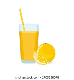 Tall glass of orange juice with tube and orange with a slice. Natural fresh squeezed juice. Healthy diet. Vector illustration.