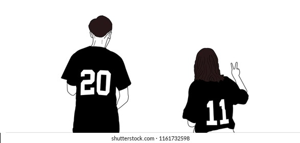 A tall guy and short girl standing next to each other. Man and woman in one image. Wearing baseball jersey.