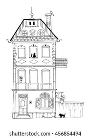 A tall housing building illustration depicting normal every day life. Decorative home hand drawing with architectural details and ambiance (flowers, animals, dog, cat, bird).