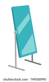 Tall large rotating dressing mirror on stand vector cartoon illustration isolated on white background.