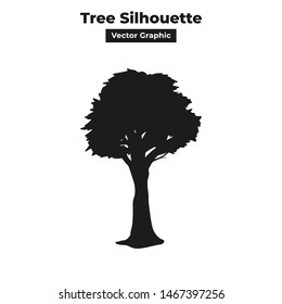 Tall and long forest jungle tree silhouette isolated vector graphic