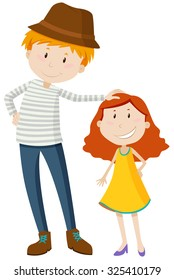 Tall man and short girl illustration