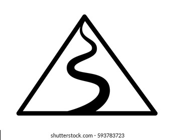 Tall mountain with hiking trail line art vector icon for outdoor apps and websites
