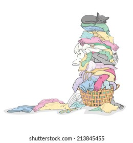 Tall Pile of Dirty Laundry in Basket with Cat and Critters