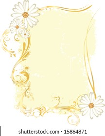 A tall rectangular yellow frame with flower ornaments and intricate patterns