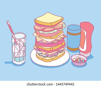 A tall sandwich, a saucepan and a glass of ice juice. flat design style minimal vector illustration.