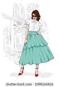 A tall, slender girl in a midi skirt, a blouse, high-heeled shoes and a clutch. Vector illustration. Clothing and accessories, fashion and style. Eps 10.