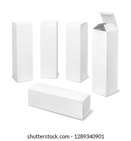 Tall white box. Cardboard cosmetic boxes rectangular blank package with shadows medicine product vertical packaging vector mockup