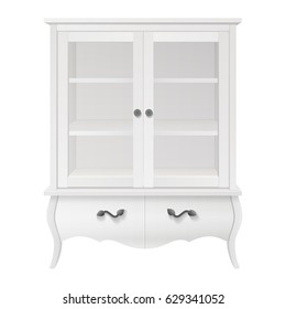 tall white glass display storage kitchen cupboard cabinet with drawers isolated on white background. vector illustration