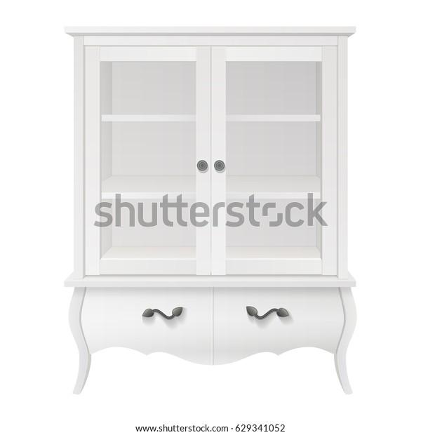 großes weißes Glasdisplay, Küchenschrank mit Schubladen ...