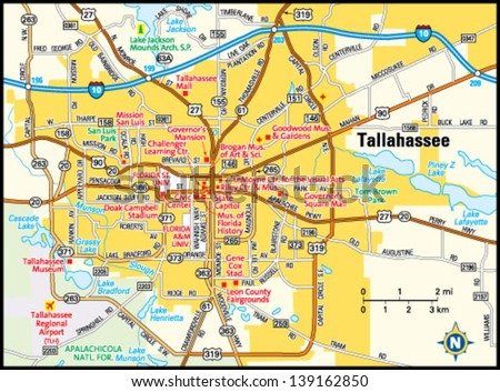 Map Of Tallahassee Florida.Tallahassee Florida Area Map Stock Vector Royalty Free 139162850