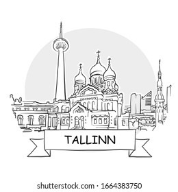 Tallinn Cityscape Vector Sign. Line Art Illustration with Ribbon and Title.