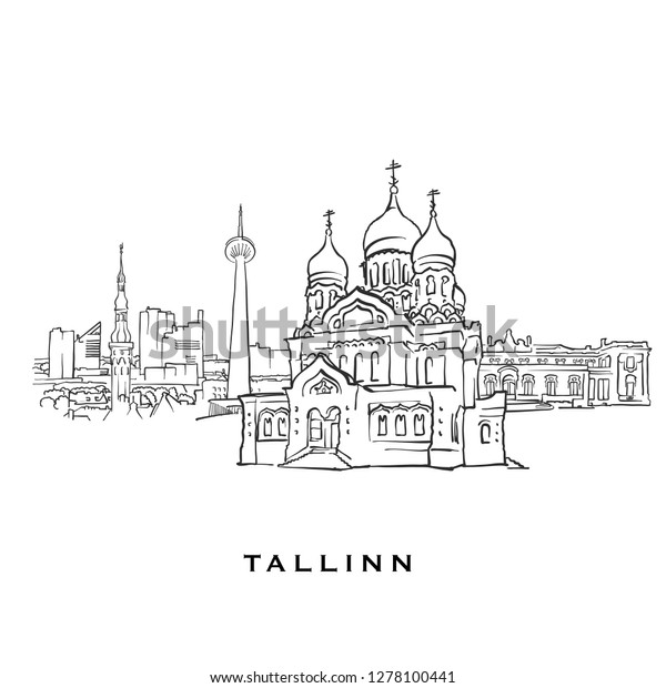 Tallinn Estonia Famous Architecture Outlined Vector Stock Vector
