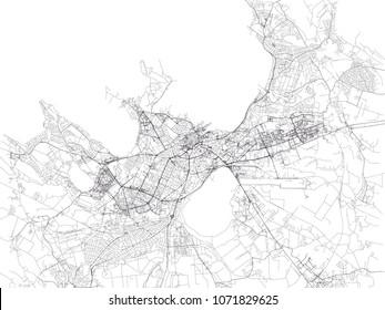 Tallinn map, satellite view, city, Estonia. Street view