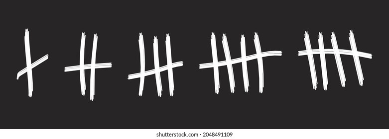 Tally mark count Prison wall sticks lines counter Vector illustration hash marks icons jail Desert island lost day Tally numbers counting in slash lines Abstract graphic isolated mathematical element