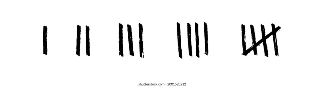 Tally marks collection. Hand drawn sticks for counting things and days. Black chalk symbols on white background. Vector illustration.