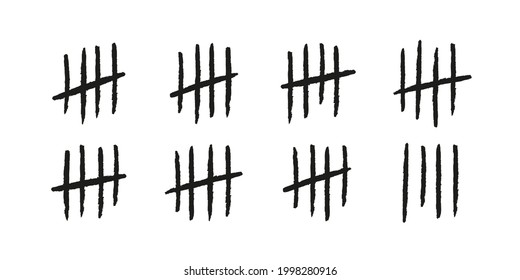 Tally marks. Hand drawn lines or sticks sorted by four and crossed out. Simple mathematical count visualization, prison or jail wall counter. Vector illustration isolated on white background.