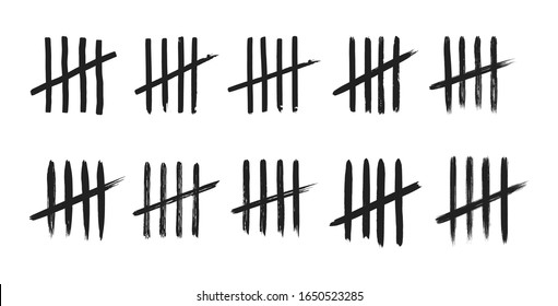 Tally marks on white board hand drawn dirty art style vector illustration set.