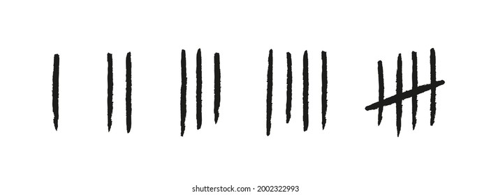 Tally marks from one to five. Hand drawn lines or sticks. Simple mathematical count visualization, prison or jail wall counter. Set of number icons. Vector illustration isolated on white background.