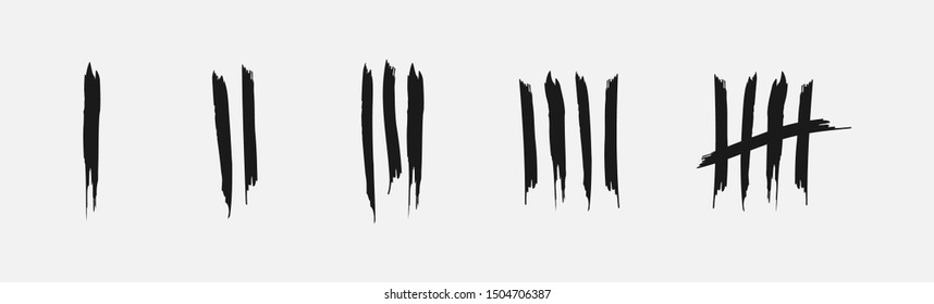 Tally marks, prison wall isolated. Counting signs. Vector illustration.
