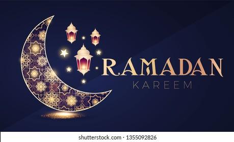 Tamadan Kareem Greeting Card with Filigree Shining Crescent Moon and Lanterns. Vector illustration