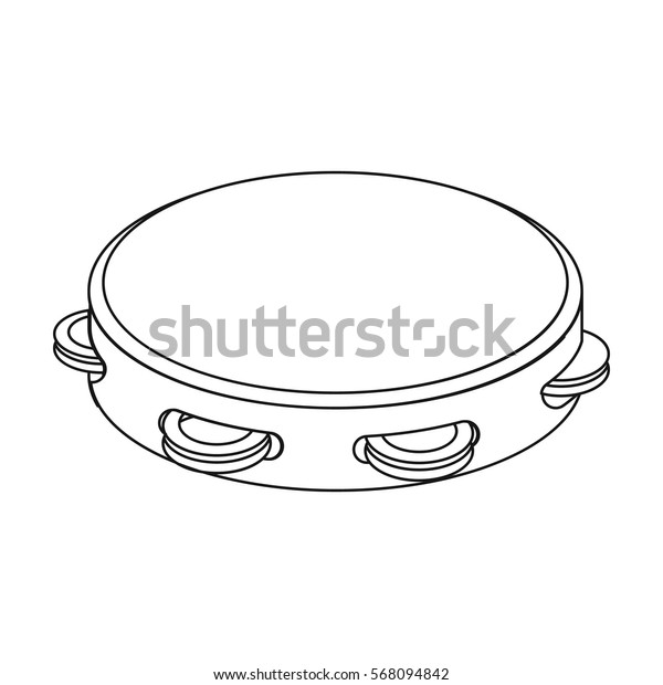 Tambourine icon in outline style isolated on white background. Spain country symbol stock vector illustration.