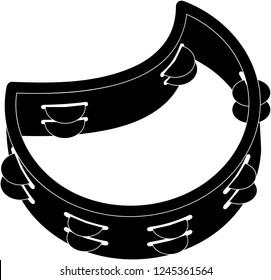 Tambourine icon vector illustration in black and white
