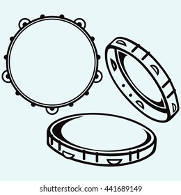 Tambourine with nobody holding. Vector silhouettes