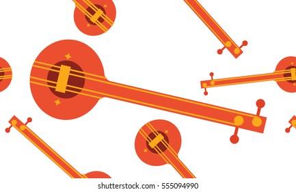 Tambura music instrument seamless pattern vector, Indian instrument