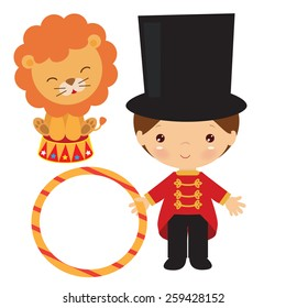Tamer with lion vector illustration