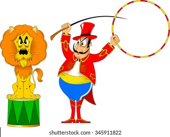 tamer in a red uniform and with a hoop at the circus