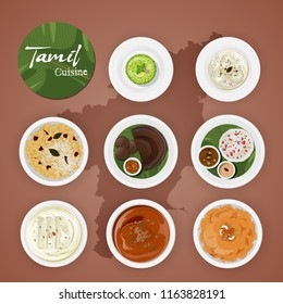 Tamil delicious cuisines on brown state map background.