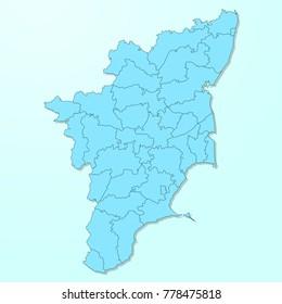 Tamil Nadu blue map on degraded background vector