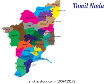 tamil nadu districts vector map silhouette illustration isolated on India map.