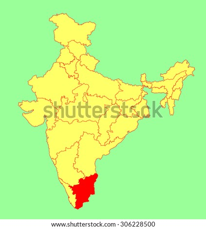Tamil Nadu State India Vector Map Stock Vector Royalty Free